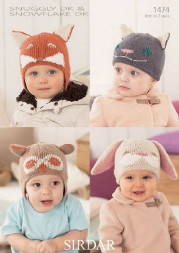 Babies and Childrens Hats and Helmets in DK Knitting Pattern , 1474
